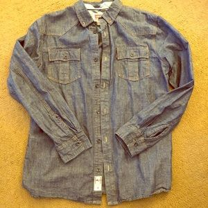 Levi's western cowboy denim chambray button up M